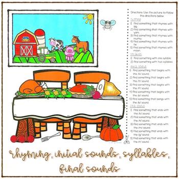 Phonemic Awareness Thanksgiving FREEBIE