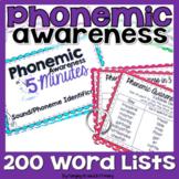 Phonemic Awareness Word Lists and Activities