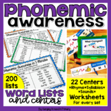 Phonemic Awareness Activities - Word Lists And Centers BUNDLE