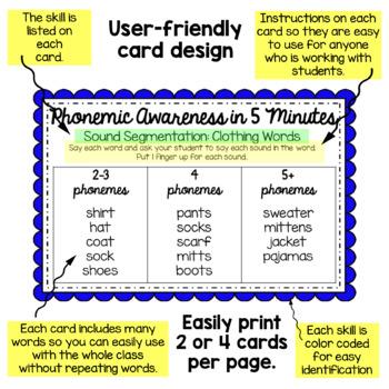 Phonemic Awareness Activities - Word Lists Freebie