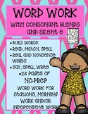 Phonemic Awareness Word Work With Consonant Blends and Silent e