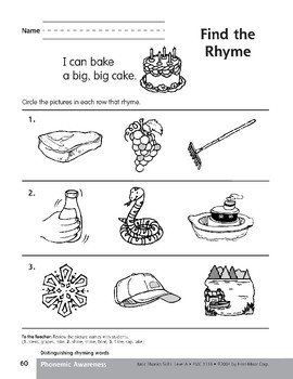 Phonemic Awareness: Words That Rhyme/Cake & Bake