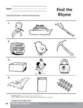 Phonemic Awareness: Words That Rhyme/Chick