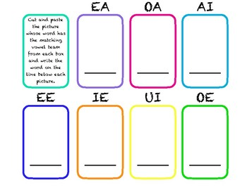 Phonemic Awareness (vowel teams) Cut and Paste Worksheet