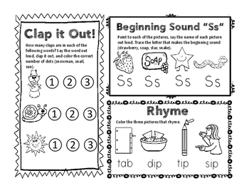 Phonemic Fun FREEBIE! (Syllable counting, rhyming, and beginning letter sounds)
