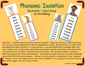 Phonemic Isolation / Bookmark