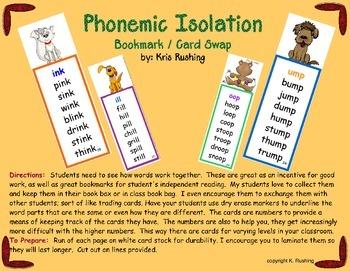 Phonemic Isolation / Bookmark