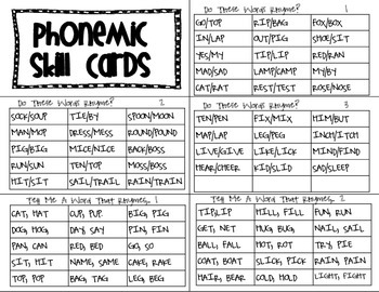 Phonemic Skill Cards
