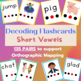 Phonemic and Decoding Flashcards with Short Vowels for Orthographic Mapping