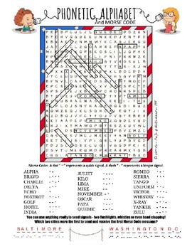 Phonetic Alphabet & Morse Code word search puzzle worksheet