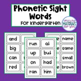 Phonetic Sight Word Flash Cards for Kindergarten