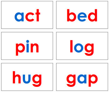 Phonetic Word Cards - Level 1 (red/blue)
