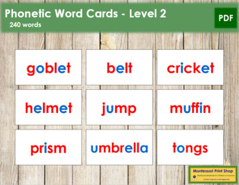 Phonetic Word Cards - Level 2 (red/blue)