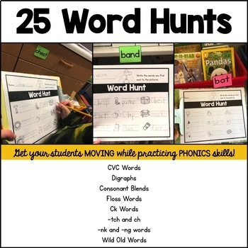 Phonetic Write the Room Word Hunts: Closed Syllables