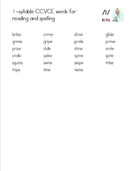 Phonetically-Controlled Words for i-consonant-e - Orton-Gillingham