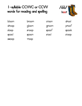 Phonetically-Controlled Words for long oo (boot) - Orton-Gillingham