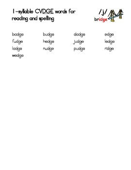 Phonetically-Controlled Words for the -dge Rule - Orton-Gillingham