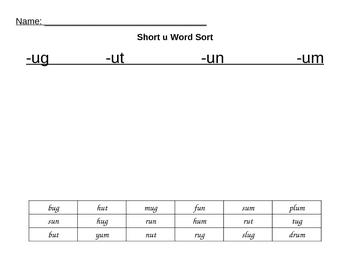 Phonic Short u Word Family Sort
