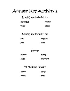 Phonic Spelling Workstation Activity for Long U