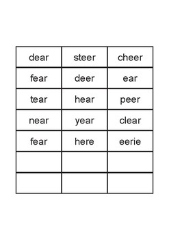Phonic Vowel Blend Sounds and Words - ear, eer, ere