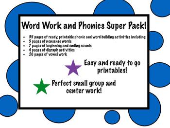 Phonic and word work super pack! 35 easy printable pages!