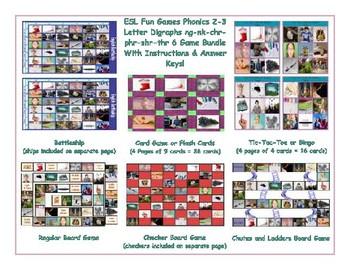 Phonics 2-3 Letter Digraphs ng-nk-chr-phr-shr-thr 6 Game Bundle
