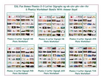 Phonics 2-3 Letter Digraphs ng-nk-chr-phr-shr-thr Worksheet Bundle