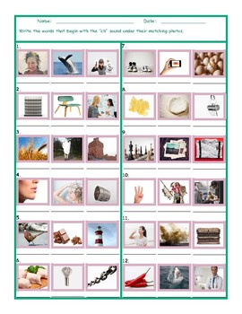 Phonics 2 Letter Digraph CH Photo Worksheet