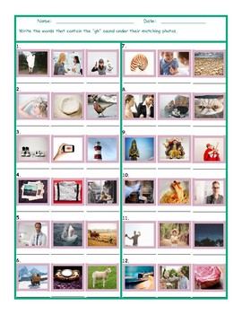 Phonics 2 Letter Digraph GH Photo Worksheet