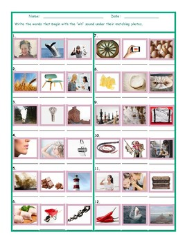 Phonics 2 Letter Digraph WH Photo Worksheet