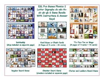 Phonics 2 Letter Digraphs ch-wh-th-sh-ph-gh 6 Game Bundle
