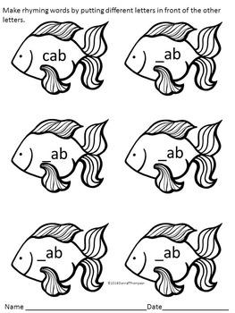 "Phonics Fish ""Rhyming CVC Words"" (Worksheets)"