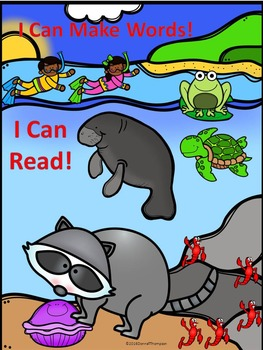 """Phonics Raccoon with Clam """"Rhyming Words"""" (CVC Words Worksheets)"""