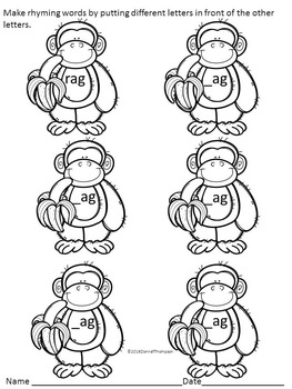 "Phonics Monkeys ""Rhyming CVC Words"" (Worksheets)"