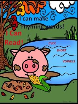 """Phonics Pig in Mud """"Rhyming CVCC Short Vowel Words"""" (Worksheets)"""