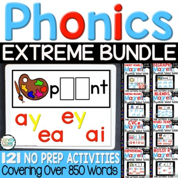 Digital Word Work Bundle- 121 Phonics Activity Centers for Google Classroom Use
