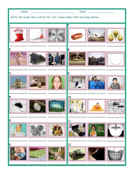 Phonics 3 Letter Digraph CHR Photo Worksheet