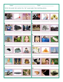 Phonics 3 Letter Digraph SHR Photo Worksheet