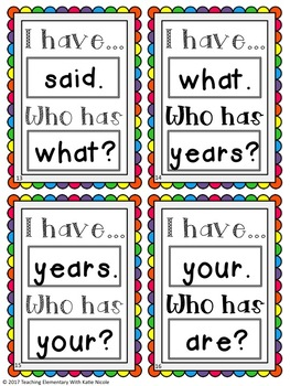 3rd Grade Phonics: I have...Who Has? Trick Words