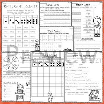 Phonics: 3rd Grade Unit 3 Resources for learning silent 'e' words