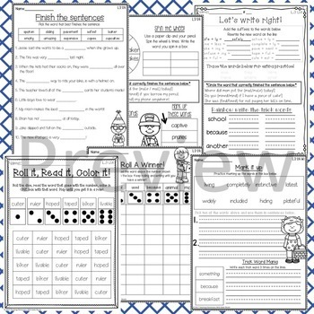 Phonics: 3rd Grade Unit 4 Resources for words with vowel-consonant-e & suffixes
