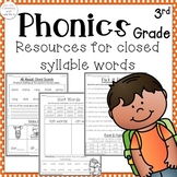 3rd grade Phonics: Resources for closed syllables