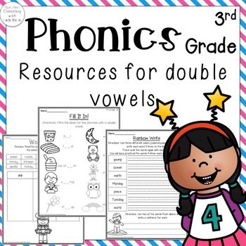 Phonics: 3rd grade Unit 10 Resources for double vowels