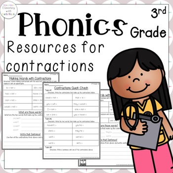 Phonics: 3rd grade Resources for learning contractions