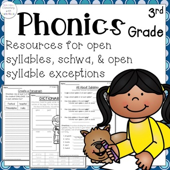 3rd grade Phonics: Resources for open syllables