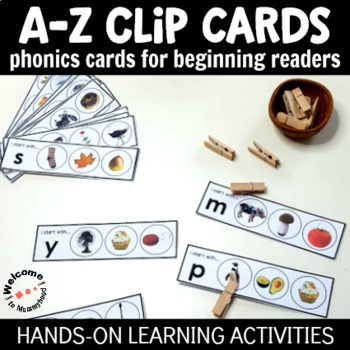 Phonics Activity Cards for Beginning Readers - A to Z clip cards