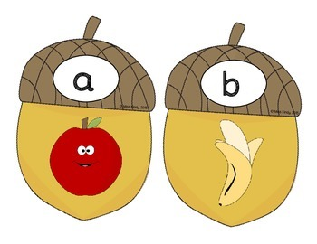 Literacy Center Puzzle: Beginning Sounds (Acorn Top It)