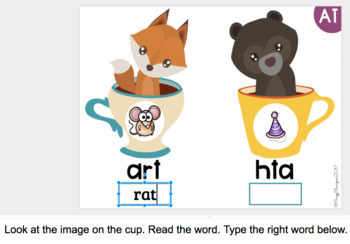 Google Classroom™ Activities Reading Phonics Practice (cups)