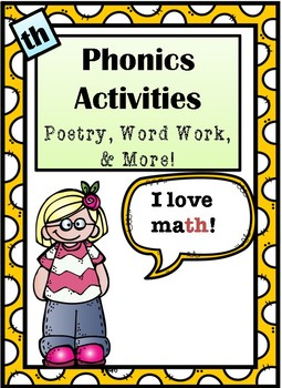 "Phonics Activities: Digraph ""Th"" - Poem, Work Work, Riddles & More!"