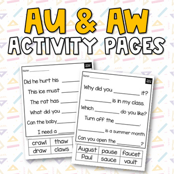 Diphthongs (au & aw) Activities